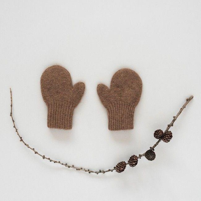 Dětské vlněné rukavice Hnědý velbloud