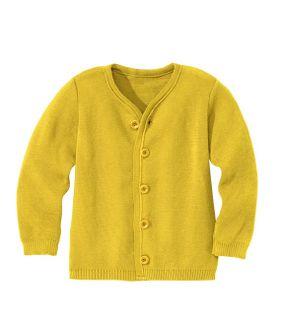 Detský kardigán z merino vlny žltý